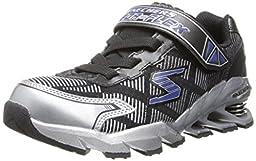 Skechers Kids 95556L Mega Blade Sneaker with Springs,Black/Silver,13 M US Little Kid