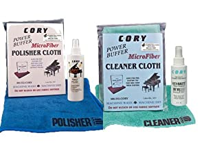 Super High Gloss Piano Polish Detailing Kit - 2oz bottles w/Microfiber Cleaning and Polishing Cloths from Cory Products, LLC