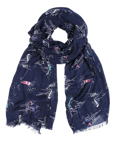 Women'S Sailboat And Lighthouse Navy Fashion Scarf
