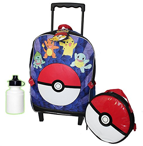 Pokemon Wheeled Backpack With Matching Pokeball Lunch bag
