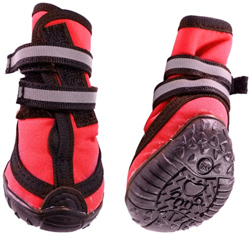 Fashion Pet Performance Waterproof Dog Boots, Medium, Red