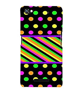 PrintVisa Polka Dots & Stripes Pattern 3D Hard Polycarbonate Designer Back Case Cover for Micromax CanvasHue2A316