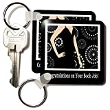 Congratulations on Your Boob Job, Black Dress on Dot Design - Set Of 4 Key Chains