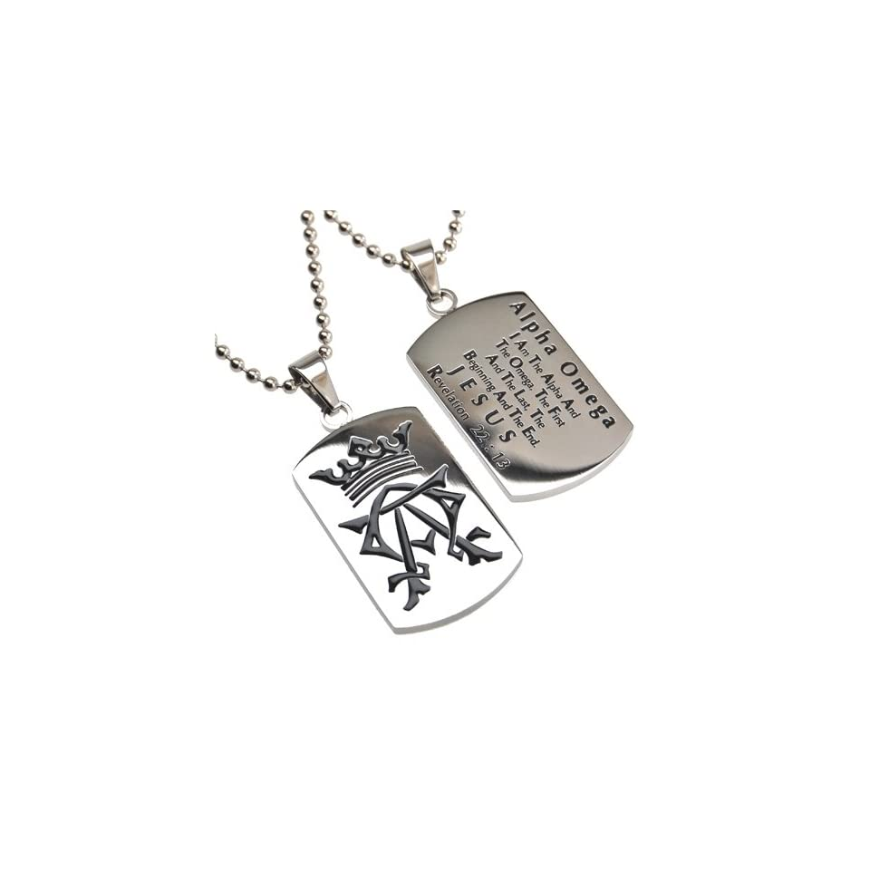 "Christian Mens Stainless Steel Abstinence ""Alpha Omega   I Am the Alpha and the Omega, the First and the Last, the Beginning and the End   Jesus   Revelation 2213"" Alpha & Omega Dog Tag Necklace for Boys   Guys Purity Necklace   24"" Bal"
