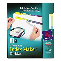 AVE11990 - Avery 5-Colored Tabs Presentation Divider