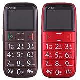 Teléfono de la Tercera Edad del anciano Fácil móvil con teclado grande, SOS, FM, linterna, banda cuádruple S728S (café, rojo)
