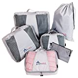 Travel Packing Cubes Versatile Pouch Laundry Bag 6 Luggage Organizers Large Eco Set