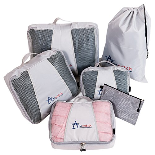 Packing Cubes 6 pcs Large Travel Set - Luggage Organizers Versatile Pouch Laundry Bag (Modular Travel Storage compare prices)