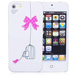 Stylish Hard Plastic Bird Cage Protective Back Case for iPhone 5 - White