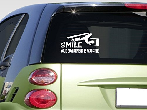 """Smile Your Government Is Watching 8"""" Sticker *E847* Decal Merica Tea Party Vote"""