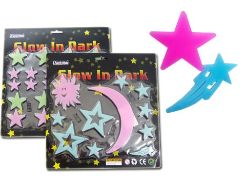 Best Stars Moon Galaxy Glow In The Dark Wall Decals Stickers 4 Pack Makes The Stocking Stuffer Christmas Gift Ideas For Newborns Kids And Teens. Guaranteed To Please. (Stars & Moon) front-1065539