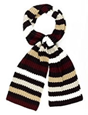 M&S Collection Striped Knitted Scarf