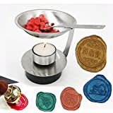 MDLG Adjustable Fire Height Wax Warmer Melting Spoon Kit Wax Sticks Beads Melting Furnace Tool Stove Pot for Wax Seal Stamp Wedding Invitations Lightening Candle Kit
