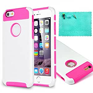 iPhone 6 Case,iPhone 6S Case,Moment Dextrad [Perfect Fit][Slim Fit] Dual-Layer Protective Cover for iPhone 6/6S 4.7 inch{Three Months Warranty}(White/Hot pink)