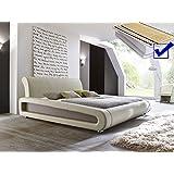 Polsterbett beige komplett Bett 160x200 + Lattenrost + Matratzen Doppelbett Designerbett Blain