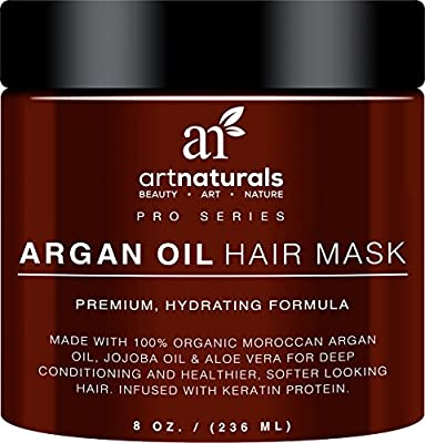 Art Naturals Argan Oil Hair Mask 237ml- Infused with 100% Organic Jojoba Oil, Aloe Vera & Keratin