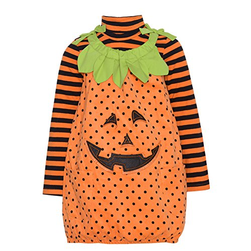 Orange Pumpkin 2pc Halloween Jumper Top Outfit Baby Girls 3M-24M