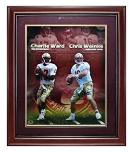 Charlie Ward and Chris Weinke Autographed FSU Florida State Seminoles Deluxe Framed... by PalmBeachAutographs.com