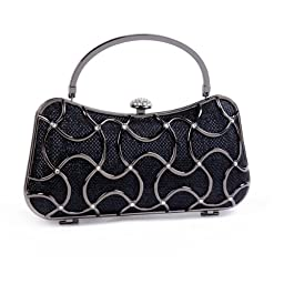 Damara Womens Geometric Minaudiere HardCase Clutch Bags,Black