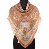 Iba Silk Light Brown Scarf Animal Print Wrap Lady Shoulder Pure Silk Scarves 40