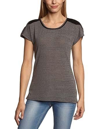 Only - duna - t-shirt - uni - femme - gris (dark grey melange) - xs