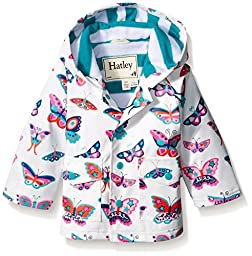 Hatley Baby Electric Butterflies Infant Raincoat, White, 18-24 Months