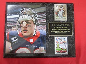 J.J. Watt Houston Texans 2 Card Collector Plaque w 8x10 photo NEW 2013 PHOTO BLOODY... by J & C Baseball Clubhouse