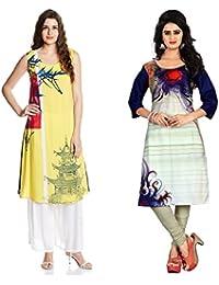 Marmic Fab Women's Pure Crepe Digitally Printed Semi-Stitched Kurtis (combo_kurti_09)(combo_pack_2_ Multicolored)