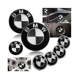 7 Bmw Black Carbon Fiber Emblem Logo Badge Set 82mm 74mm 45mm 68mm Hoodtrunksteering4 X Wheel Caps from bmw