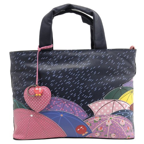 Yoshi Lichfield Hampton Umbrella Brolly Rain Scene Leather Grab Bag / Handbag / Picture Bag - Kubi # Y26 RAIN + FREE Keep Calm and Carry On Shopping Trolley Keyring