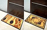 Athom Trendz 2 Piece Printed Nylon Door Mat Set - Coffee