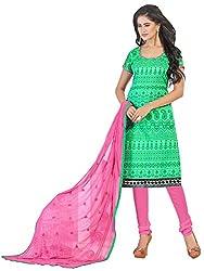 Swapnrang Chanderi Light Green Pink Dress Material