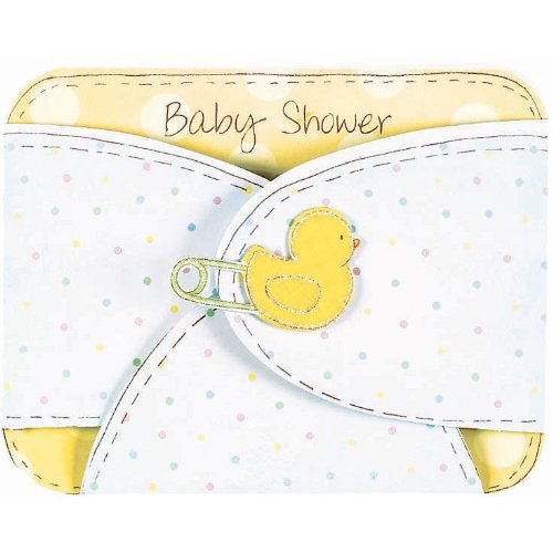 Baby Diaper Large Baby Shower Invitations, 8ct - 1