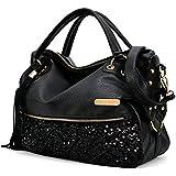 World Trip Women Handbag Shoulder Bags Tote Purse PU Leather Women Messenger Hobo Bag (Black Sequins)