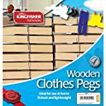 Clothes Pegs Wooden Pack of 40 Traditional Robust Pegs
