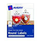 Avery Print-to-the-Edge Round Labels, Glossy, 1.625-Inch Diameter, Pack of 30 (41461)
