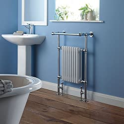 "Traditional Period Style Brass Heated Bathroom Towel Hydronic Radiator Rail - 37"" x 25"" - Fixing Pack and Valves Included"