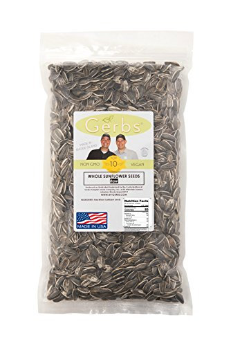 Raw Sunflower Seeds In Shell by Gerbs - 2 LBS - Top 11 Food Allergen Free & NON GMO - Vegan & Kosher - Seed Country of Origin USA - Premium Domestic Whole Seeds (Sunflower Seeds Gerbs compare prices)
