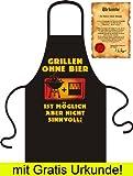 Beliebte Koch/Grill Schürze Apron + gratis URKUNDE für Hobbyköche mit genialem Motiv: Grillen ohne Bier Farbe schwarz