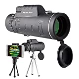 Monocular Telescope by MonoSee | Telescope for Phone, Binocular Scope - Ideal for Hiking, Night Vision, Site Seeing, Camping, Sports, Wildlife, Waterproof, Free Phone Attachment & 2 Tripods. 12X50. (Color: Black, Tamaño: 12X50)