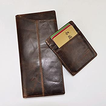 01. Le'aokuu Mens Genuine Leather Bifold Wallet Organizer Checkbook Card Case