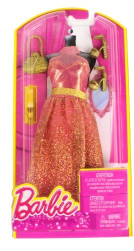 Barbie Dress Up Peach and Gold Dress with Fashion Accessories - 1