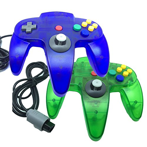 2 x Game gaming pad console Controllers For Nintendo 64 N64 - Clear Blue+Clear Green (Fps Freak Elite compare prices)