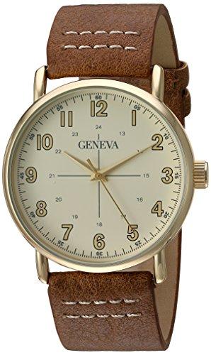 geneva-mens-quartz-metal-and-polyurethane-dress-watch-color-brown-model-gv-5008chhy