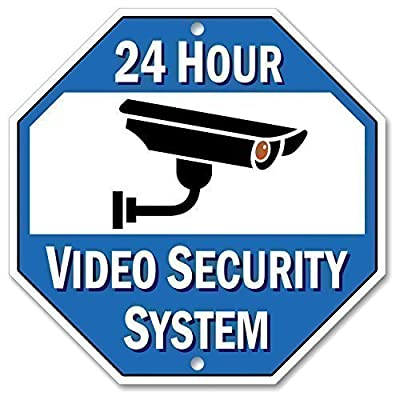 "Bigtime Designs Aluminum Surveillance Sign, Stop Trespassing, 24 Hour Security Camera Warning Graphic, 1/8"" Thick Di-Bond Metal, Size: 10"" x 10"" Octagon"