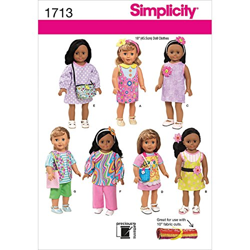 Simplicity 1713 18-Inch Doll Clothes Sewing Pattern, Size OS (One Size) - 1