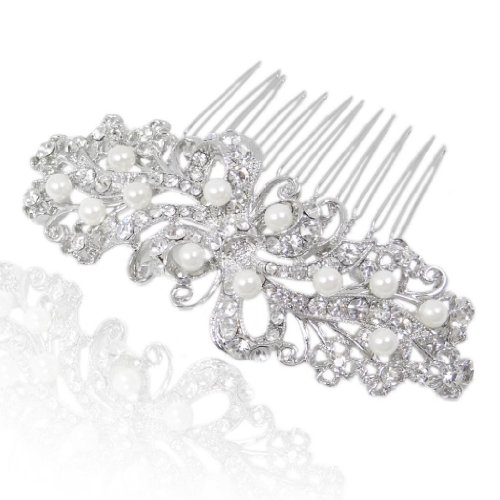 Bridal Silver-Tone Flower Simulated Pearl Clear