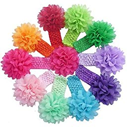 Sannysis 10 Pieces Babys Headbands Girls Headband Chiffon Flower Hair Bow
