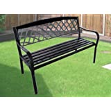 EXPRESS TRADING ® BLACK 3 SEATER METAL GARDEN OUTDOOR LATTICE BACK PARK BENCH SEAT FURNITURE
