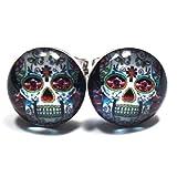 Cross Floral Skull Unisex Stainless Steel White Stud Earrings